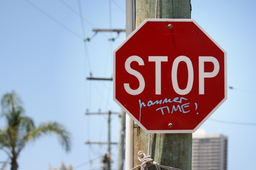 Stop-Hammer Time sign. Photo by Mollybob, used under Creative Commons license.