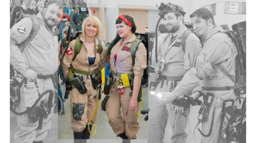 Women and men in Ghostbuster costumes